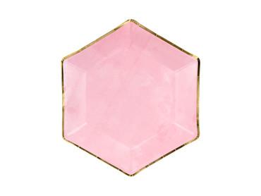 6 Papp-Teller eckig rosa-gold – Bild 1