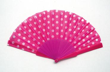 Fächer gepunktet pink-weiß