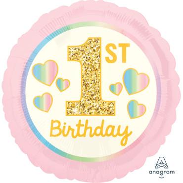Folienballon 1st Birthday Mädchen