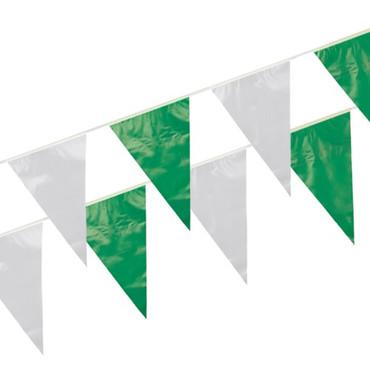 10m Wimpelkette grün/weiß