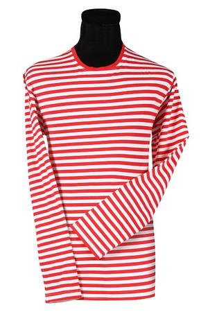 Ringel-Shirt langarm rot-weiß
