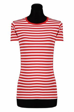 Ringel-Shirt tailliert kurzarm rot-weiß