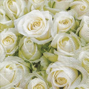 "20 Servietten ""White Roses"""