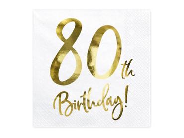 20 Servietten Geburtstag 80 weiß-gold – Bild 1