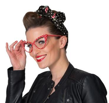 Brille Retro 50er rot-weiß