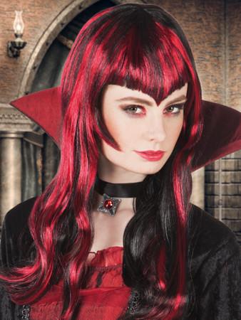 Perücke Vampir schwarz-rot – Bild 2