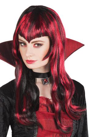 Perücke Vampir schwarz-rot – Bild 1