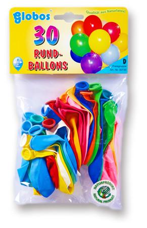 30 Ballons rund bunt