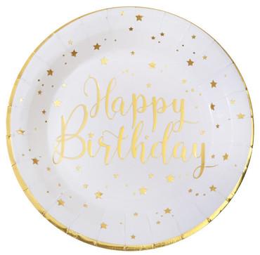 10 Papp-Teller Geburtstag Happy Birthday weiß-gold