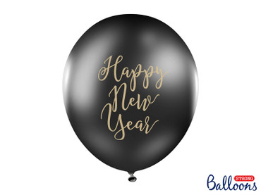 6 Ballons Happy New Year schwarz-gold – Bild 1
