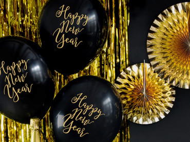 6 Ballons Happy New Year schwarz-gold – Bild 2