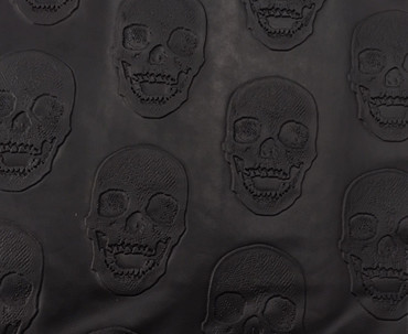 Lederimitat Kunstleder Totenkopf schwarz – Bild 1