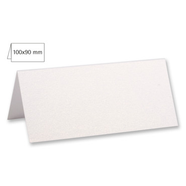 5 Tischkarten weiß metallic
