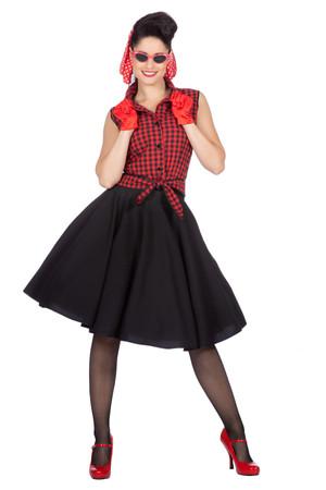 """Rockabilly """"Rizzo"""" Rock mit Bluse schwarz-rot 50er Jahre – Bild 2"""