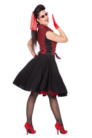 """Rockabilly """"Rizzo"""" Rock mit Bluse schwarz-rot 50er Jahre – Bild 3"""