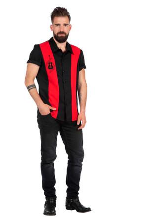 Rockabilly Hemd Dean schwarz-rot – Bild 1