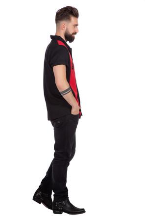 Rockabilly Hemd Dean schwarz-rot – Bild 2