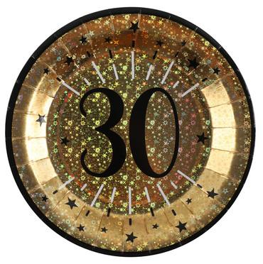 10 Papp-Teller Geburtstag 30 gold-schwarz