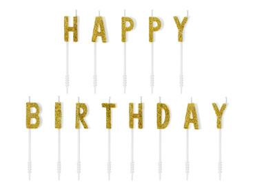 Kuchen-Kerzen Happy Birthday gold