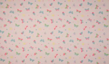 Baumwollstoff Schmetterlinge rosa-bunt