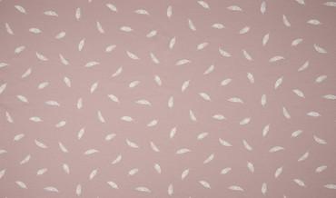 Baumwoll-Jersey Federn rosa-weiß