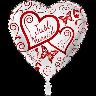 Folienballon 71cm Herz Just married