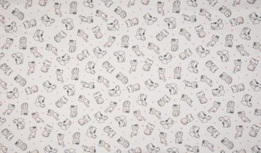 Baumwoll-Jersey Katze Herz weiß  taupe rosa blau – Bild 2