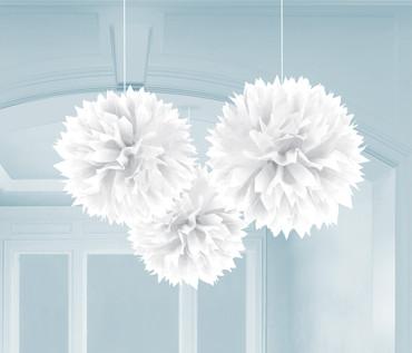3 Pompoms weiß