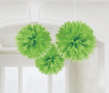 3 Pompoms kiwi-grün