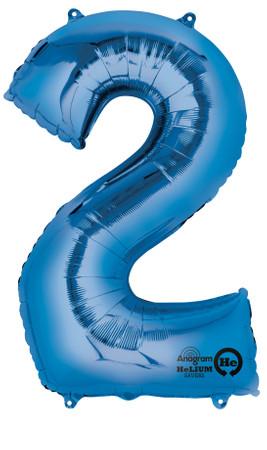 Folienballon Zahl 2 blau- 88cm