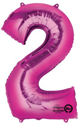 Folienballon Zahl 2 pink - 88cm