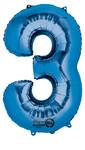 Folienballon Zahl 3 blau- 88cm 001
