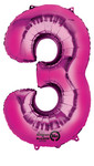 Folienballon Zahl 3 pink - 88cm 001