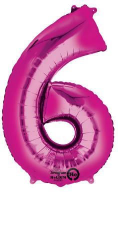 Folienballon Zahl 6 pink - 88cm