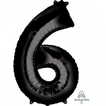 Folienballon Zahl 6 schwarz - 88cm