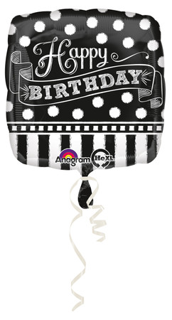Folienballon Black & White Birthday