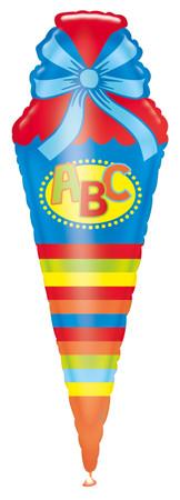 Folienballon ABC Schultüte blau