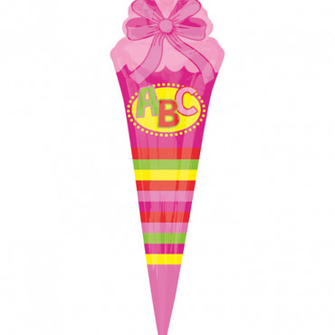 Folienballon ABC Schultüte pink