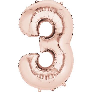 Folienballon Zahl 3 rose-gold - 88cm