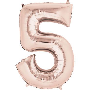 Folienballon Zahl 5 rose-gold - 88cm