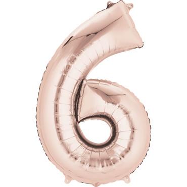 Folienballon Zahl 6 rose-gold - 88cm