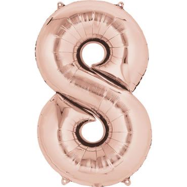 Folienballon Zahl 8 rose-gold - 88cm