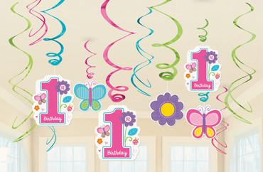 Swirl-Deko 1. Birthday Girl