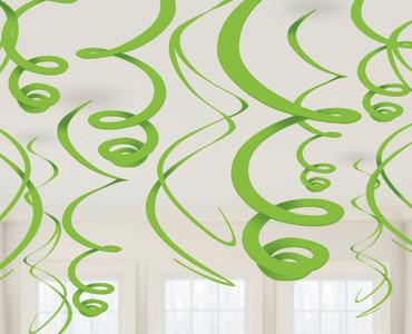12 Deko-Swirls kiwigrün
