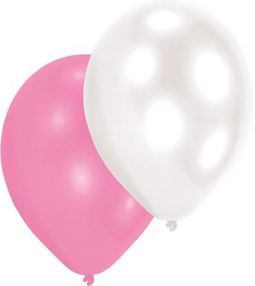 10 Perlmuttballons rosa-weiß