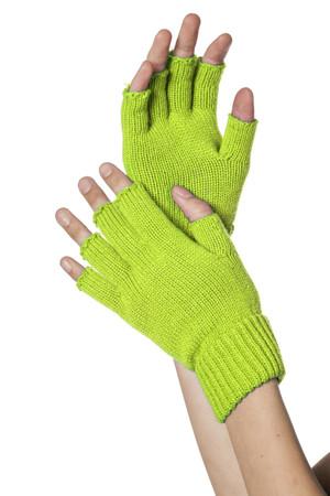 Handschuhe fingerlos neon-grün
