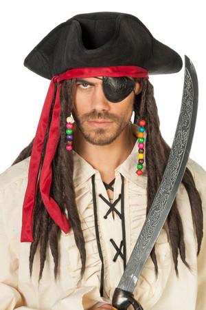 Piratenhut schwarz mit Haaren