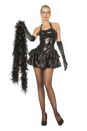 Paillettenkleid mit Satinrock schwarz