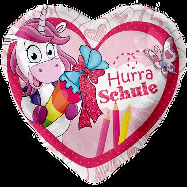 Folienballon Einhorn Hurra Schule