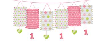 Lampiongirlande 1. Geburtstag rosa